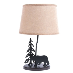 Bear Table Lamp with Burlap Shade - Set of 2