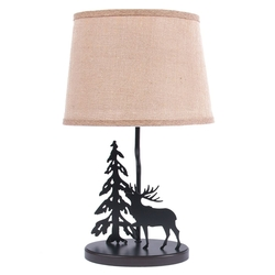 Moose Lamp with Burlap Shade - Set of 2