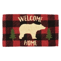 Buffalo Plaid Bear Doormat