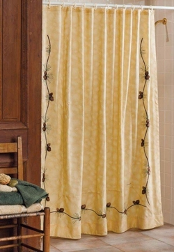 Barn Raising Pinecone Shower Curtain