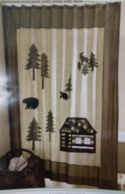 Northwoods Embroidered Shower Curtain