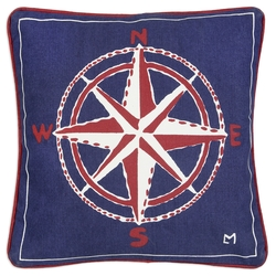 Compass Rose Canvas Pillow - 18