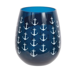 Navy Stemless Whie Glasses - Set of 2