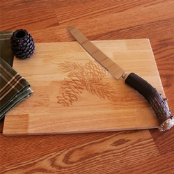 Pinecone Cutting Board with Toothpick Holder