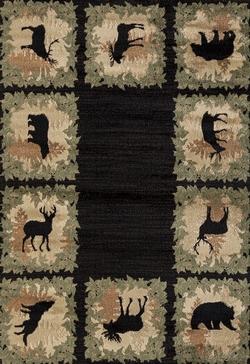 Woodside Woodsman Border Black Rug - 4 Size Option