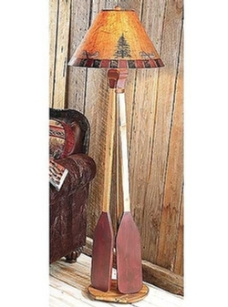 Canoe Floor Lamp - Red & Brown