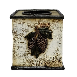 Pinecone & Birch Tissue Box