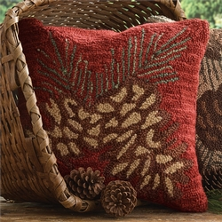 Pinecone Hooked Pillow
