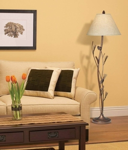 Pinecone and Twig Iron Floor Lamp