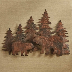 Hammered Copper Bear Wall Art