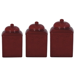 Savannah Canister Set - Red - Set of 3