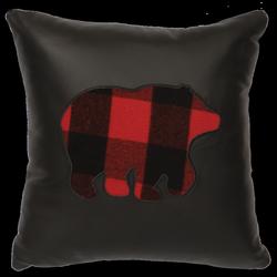 Ponderosa Leather Pillow - Bear