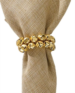 Gold Jingle Bell Napkin Ring - Set of 6