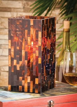 Mosaic Square Glass Candle Holder