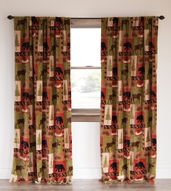 Wildlife Patchwork Lodge Rustic Curtain