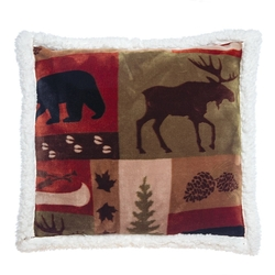 Wildlife Patchwork Lodge Rustic Pillow