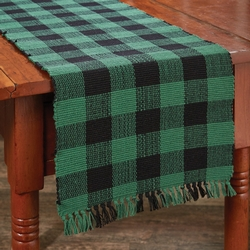 Wicklow Check Table Runner - Two Sizes - Forest