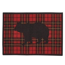 Sportsman Plaid Bear Indoor/Outdoor Rug-2' x 3'
