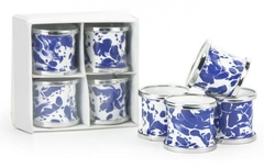Cobalt Swirl Napkin Ring - Set of 4