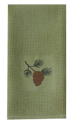 Pine Lodge Embroidered Dish Towel