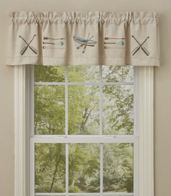 Canoe & Paddles Embroidered Lined Valance