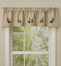 Black Bear Lined Embroidered Valance