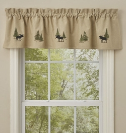 Moose Embroidered Lined Valance