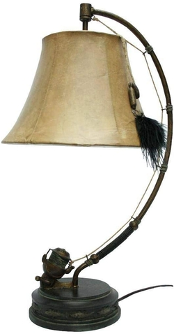 Spinning Reel Table Lamp and Shade