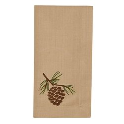 Rustic Embroidered Pinecone Napkin - Set of 2