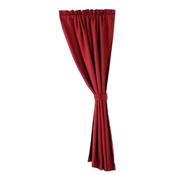 Linen Look Curtain - Classic Red