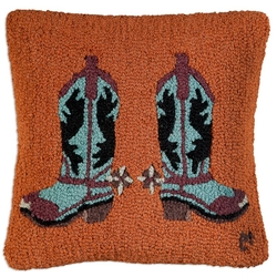 Spur Boots Hooked Pillow