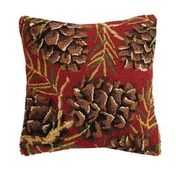 Pinecones Hooked Pillow