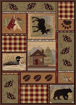 Nature Cabin and Loon Area Rug