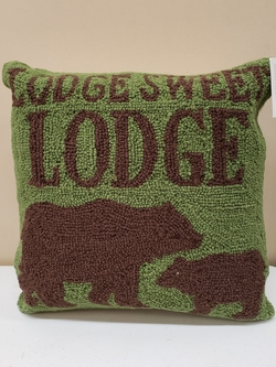 Lodge, Sweet Lodge Hooked Pillow