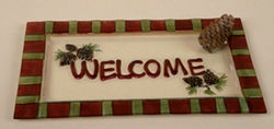 Pinecone Hand Painted Welcome Glass Tray