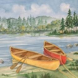 Log Cabin Canoe Luncheon Napkins