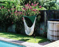 Hammock Chair with Green Shade Canope