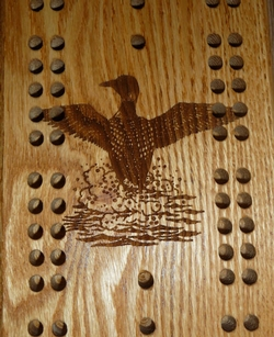 Custom Cribbage Board with Bullet Pegs