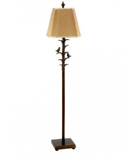 BRONZED BIRD-ON-BRANCH FLOOR LAMP