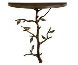 Bird in Tree Wall Mount Half Oval Table