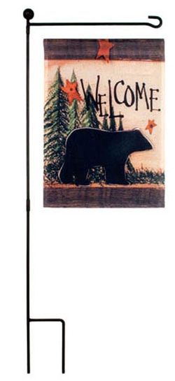 Bear Silhouette Garden Welcome Flag
