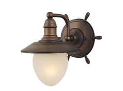 Nautical Indoor Wall Light in Antique Red Copper