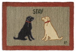 Stay There Lab Dog Hooked Rug - 2' x  3'
