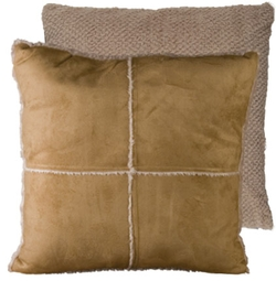 Tan Shearling Pillow (Reversible)