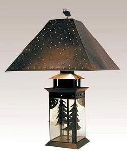 Dark Bronze Tree and Moon Lantern