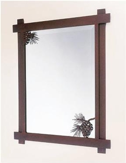 Rustic Pinecone Mirror -Metal Art