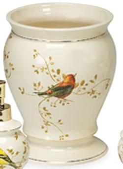 Gilded Birds Wastebasket - Ivory