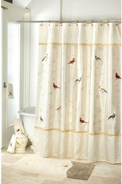Gilded Birds Shower Curtain - Ivory