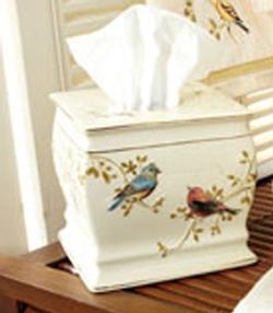 Gilded Birds Tissue Cover - Ivory
