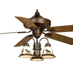 Rustic Cabin Lamps and Lighting Ceiling Fans:Burnished Bronze 52,Lighting